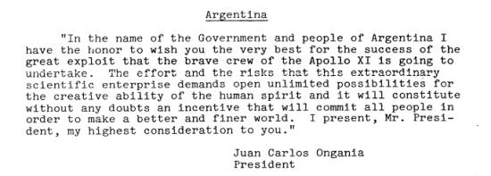 Mensaje de Juan Carlos Onganía en la Luna