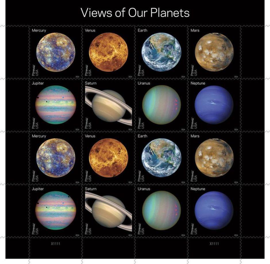 Las nuevas estampillas de los 8 planetas del Sistema Solar