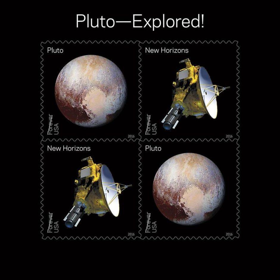 La nueva estampilla de Plutón y de la sonda New Horizons