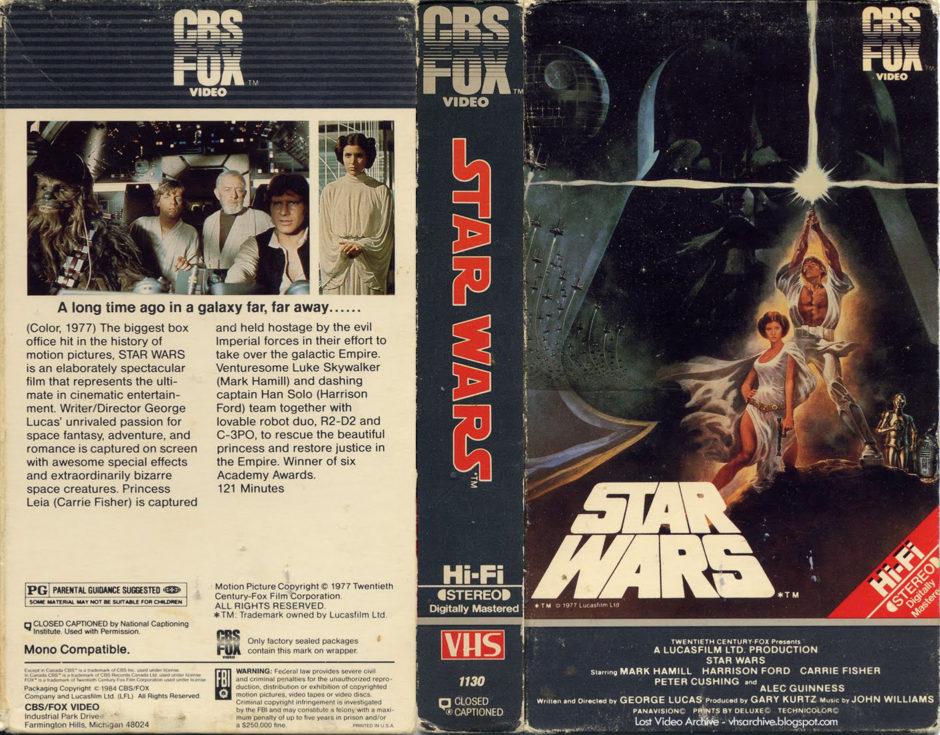 Carátula del VHS original de Star Wars